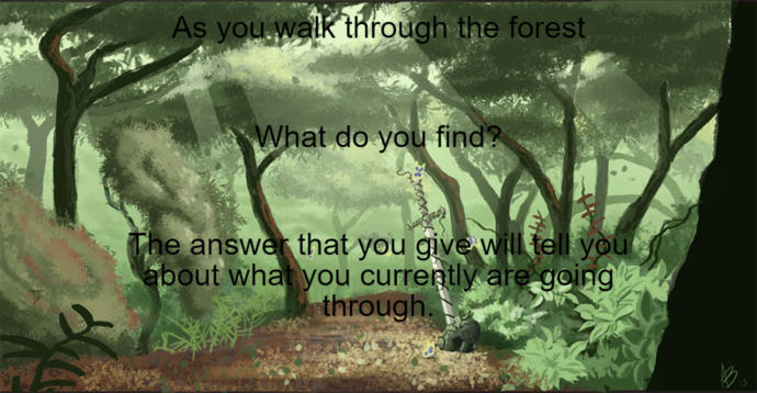 Go ahead tell me what you see in the forest that you imagine by concentrating on your breath and stuff?