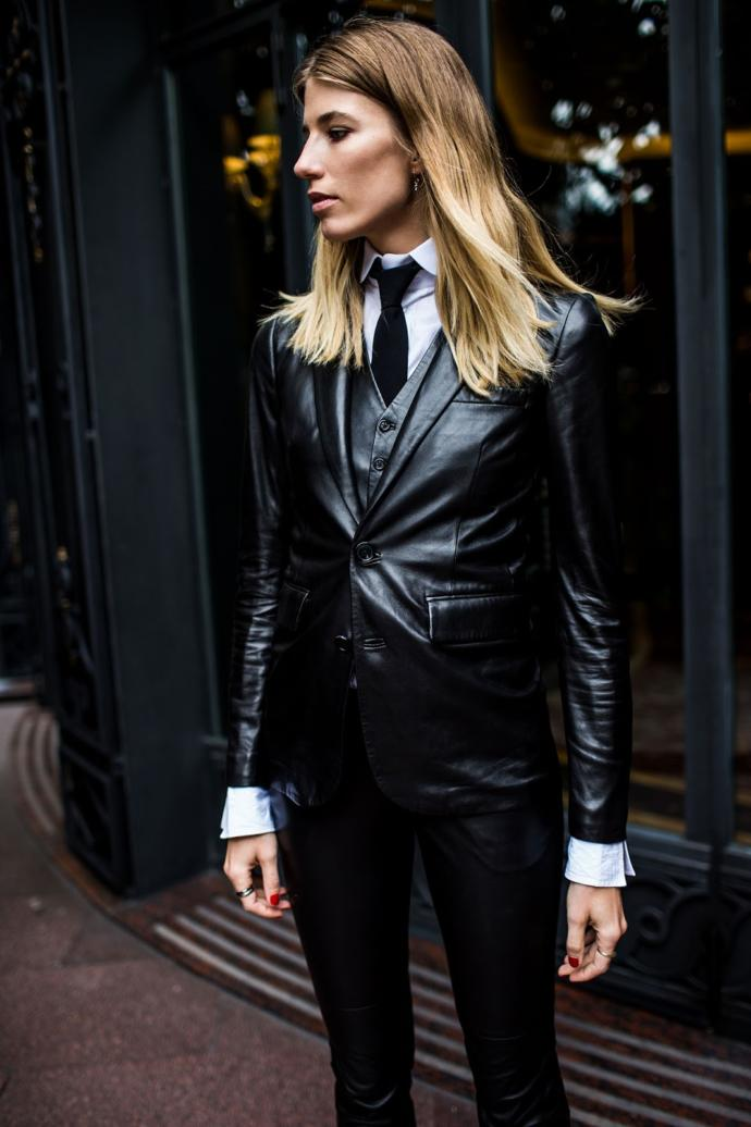 Do You Love The Business Suit With Leather Pants Or Leather Skirt Look?