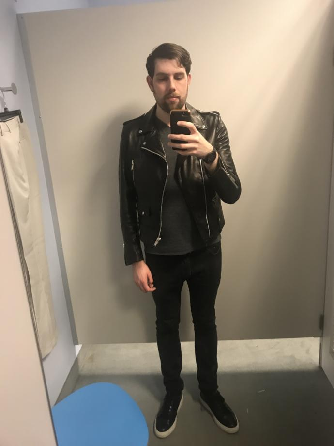 Does it look like this new leather jacket fits alright?