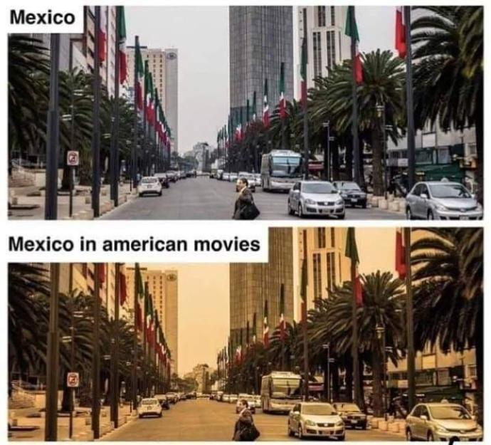 Why is Mexico shown in yellowish tint in Hollywood movies?