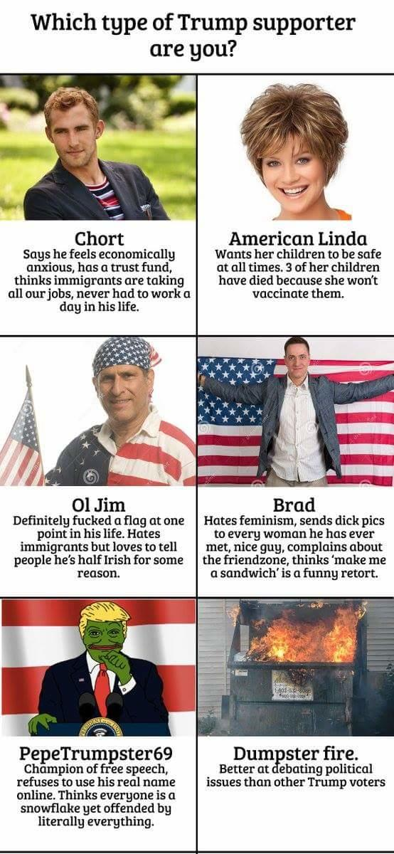 Which one of these Trump supporters is most common?
