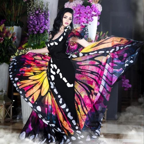 Which butterfly dress fashion looks the most interesting?