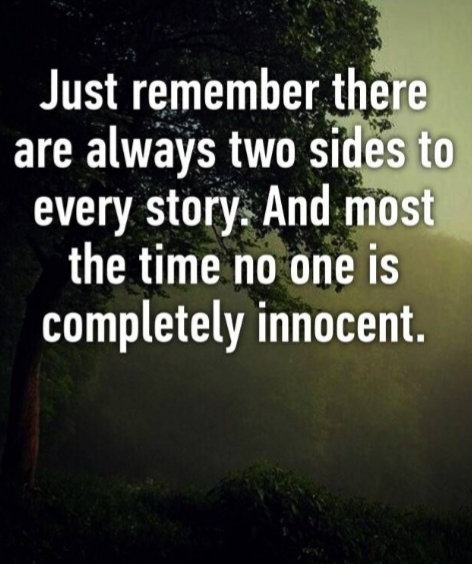 Why Do Some People Forget Theres Two Sides To Every Story?
