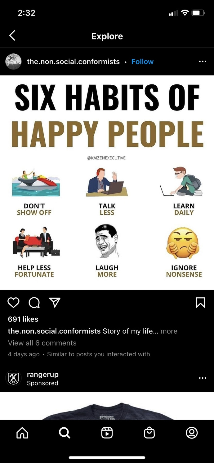 """""""Six habits of happy people."""" Do you agree?"""