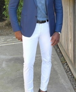 What color pants will suit this blue blazer/suit?