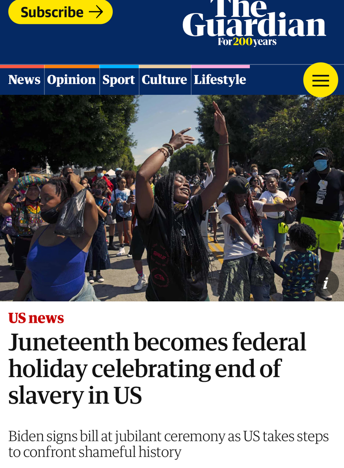 Are you happy Juneteenth is finally a holiday for black people now?