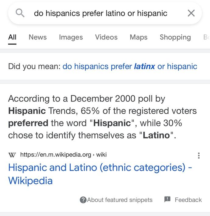 What do Spanish people prefer between Hispanic, Latino or LatinX?