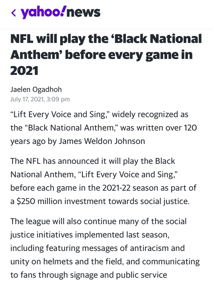 Do you agree or disagree with the NFL deciding to play the black national anthem before every game for the 2021 season?