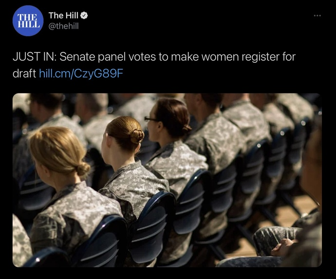 What do you think about the Senate panel voting to make women register for draft?