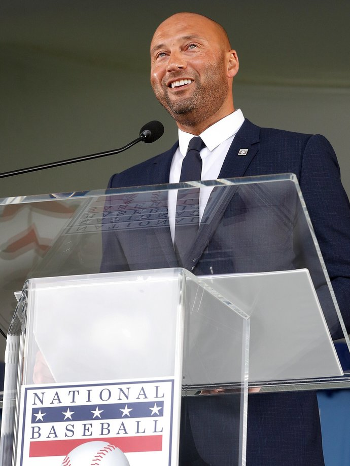Derek Jeter during his acceptance speech at the National Baseball Hall Of Fame on Wednesday, 9/8/2021 in Cooperstown, NY.