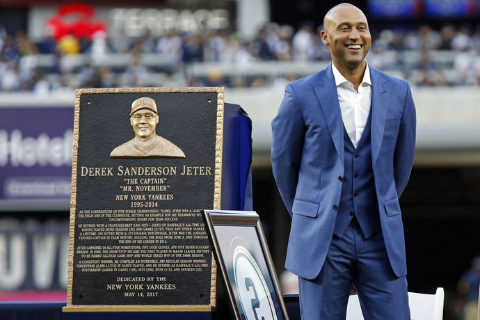 Derek Jeter receives his Monument Park Plaque on Sunday, May 14, 2017 at Yankee Stadium, Bronx, NY.