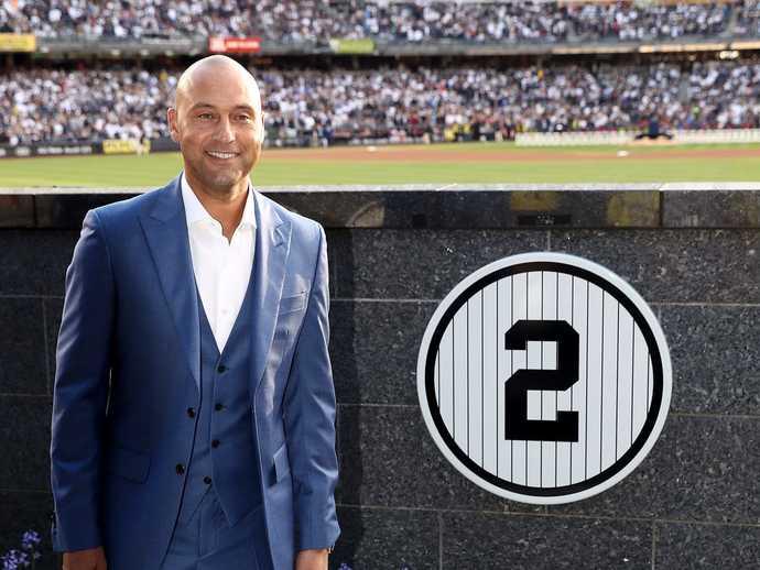 Derek Jeters uniform #2 is retired by the New York Yankees on Sunday, May 14, 2017 at Yankee Stadium, Bronx, NY.