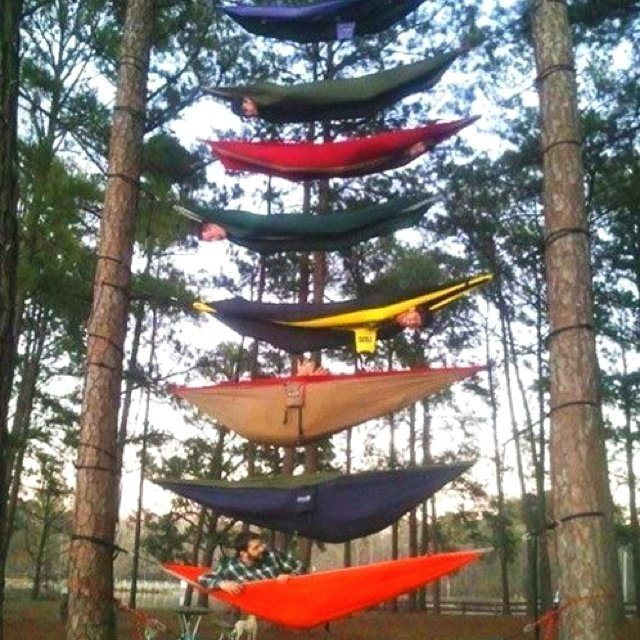 HOW DO YOU HANG 8 HAMMOCKS WHEN YOU ONLY HAVE TWO TREES?