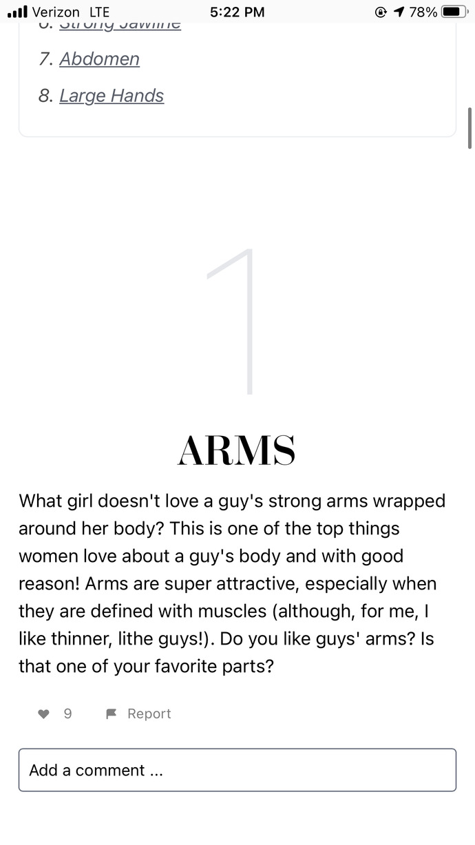 Girls how much do you like arms and hands on a guy?