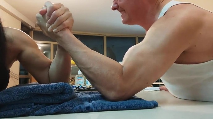 I lost two arm wrestles in a row to this woman. She surprisingly had strong arms and wrists for her size. How did she take me out twice?