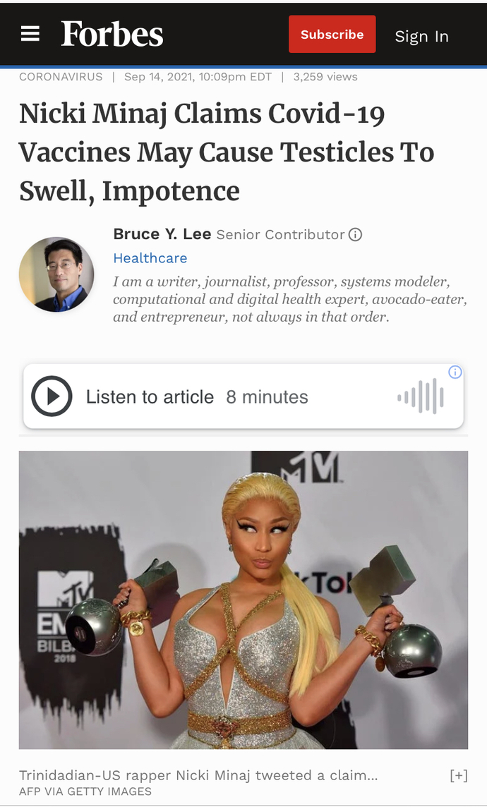 What do you think about Nicki Minaj's comments about Covid?