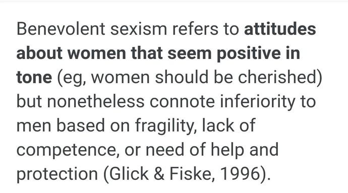 Girls: Do you think benevolent sexism is a problem?