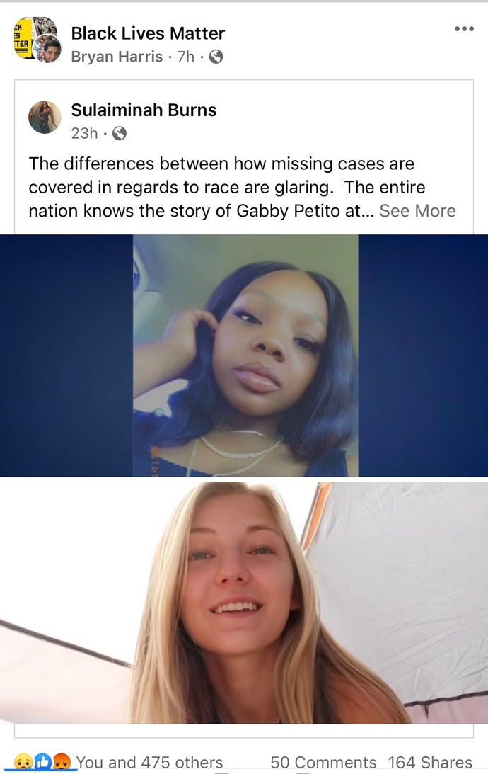 BLM supporters are mad about the Gabby Petito case in terms of the coverage it has due to her being a white woman but why?