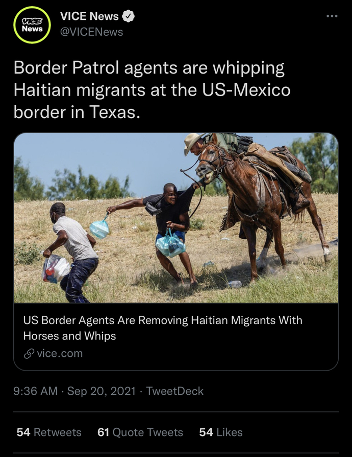 Border agents on the Texas border uses horses and whips on Haitians, thoughts on that?
