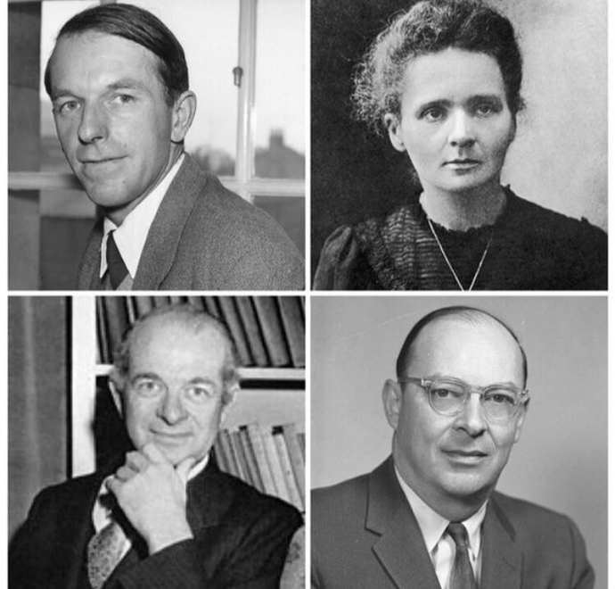 The four scientists who won Nobel prizes - Fred Sanger, Marie Curie, Linus Pauling, and John Bardeen. Did you know that theyre all virgins?