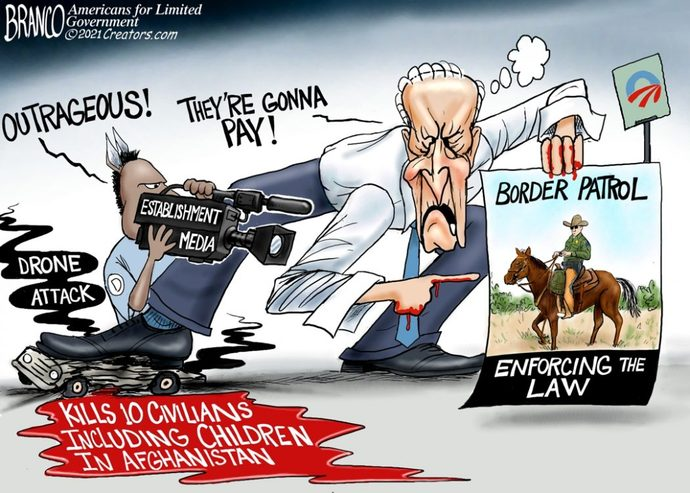 Do you agree that Biden made up the fake border patrol whipping story to distract from the fact he ordered a drone strike that killed children?