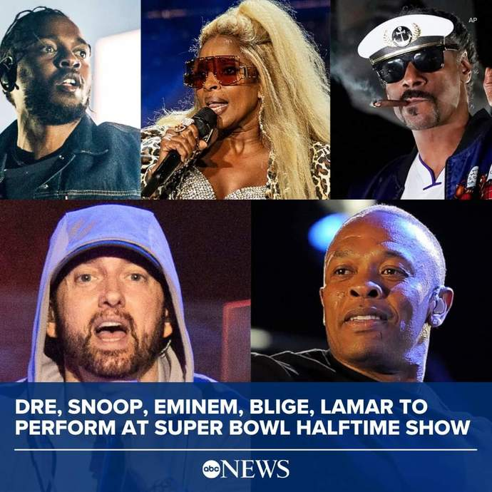 Eminem, Dr. Dre, Snoop Dogg, Mary J Blige, and Kendrick Lamar to play the 2022 Superbowl halftime. What do you think of this lineup?