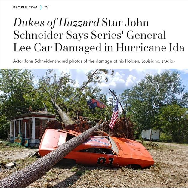 Are you familiar with The Dukes of Hazard tv show? Did you here that the car, the General Lee was damaged in a hurricane recently?