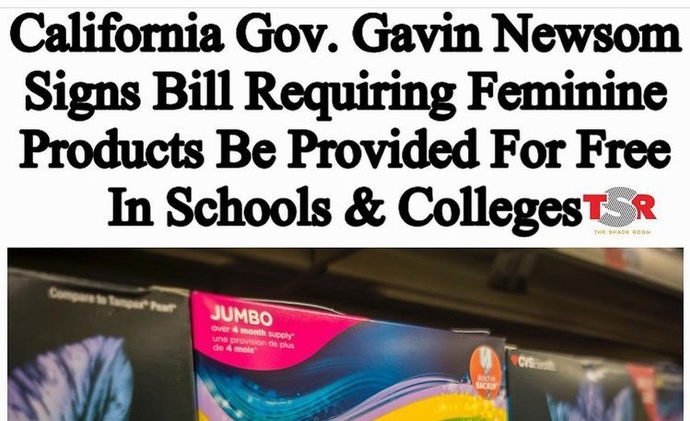 California Governor Signs Bill That Requires Feminine Products To Be Provided For Free In School And Colleges. Should It Be Free For Women Everywhere?
