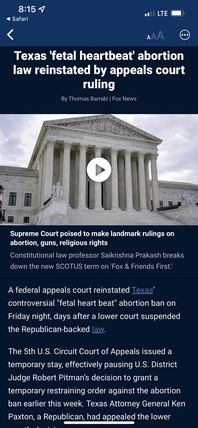 """""""Texas fetal heartbeat abortion law reinstated by appeals court ruling."""" Your thoughts?"""