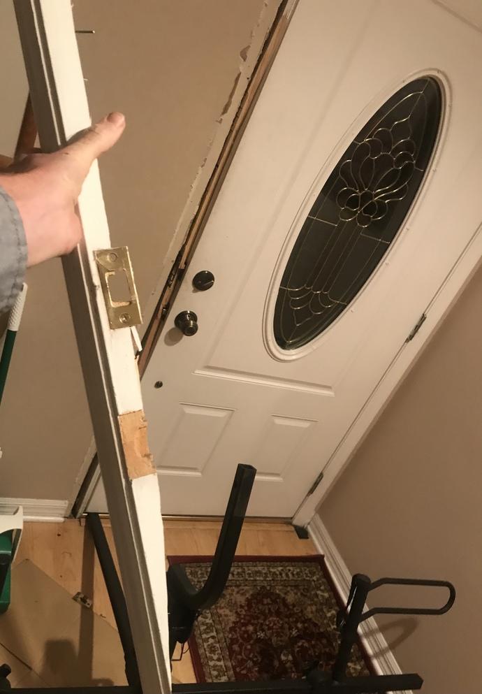 Normal door striker deadbolt only two screws into a tiny piece of pine