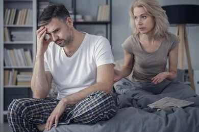 """Woman disappointed because her partner finished too fast and wants to """"talk"""" and his problem. (Not me in the picture)"""