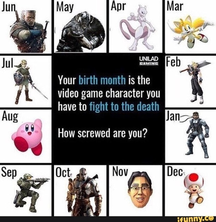 Based on the month you were born you have to fight a certain video game character, what is your birth month and which character you have to fight?
